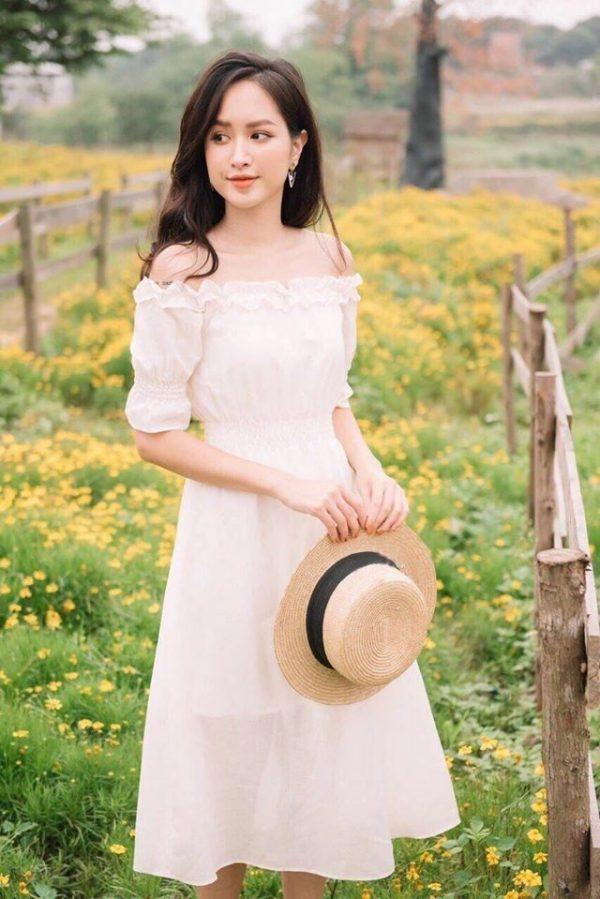 Đầm trắng trễ vai 1