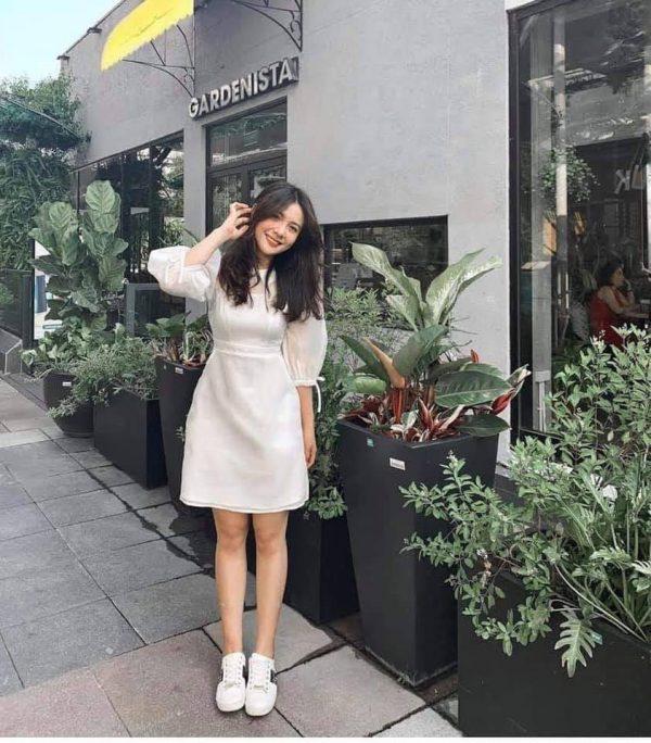 Mẫu đầm trắng nơ tay - xưởng thời trang thiết kế 1
