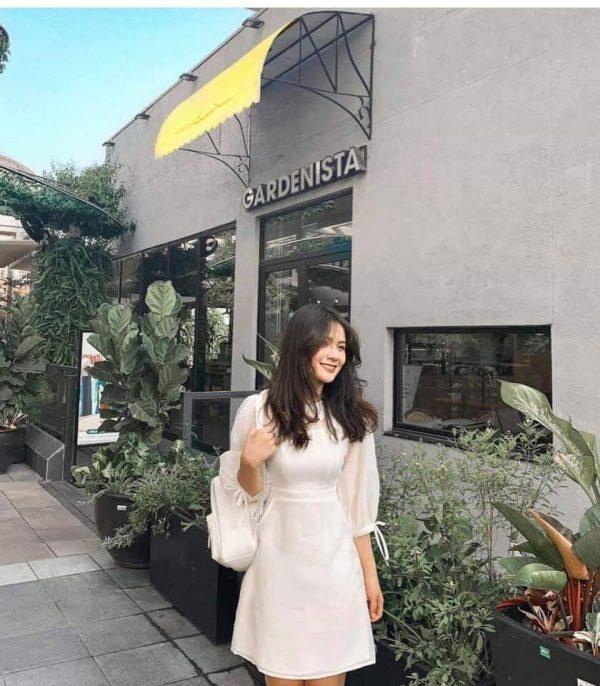 Mẫu đầm trắng nơ tay - xưởng thời trang thiết kế 2