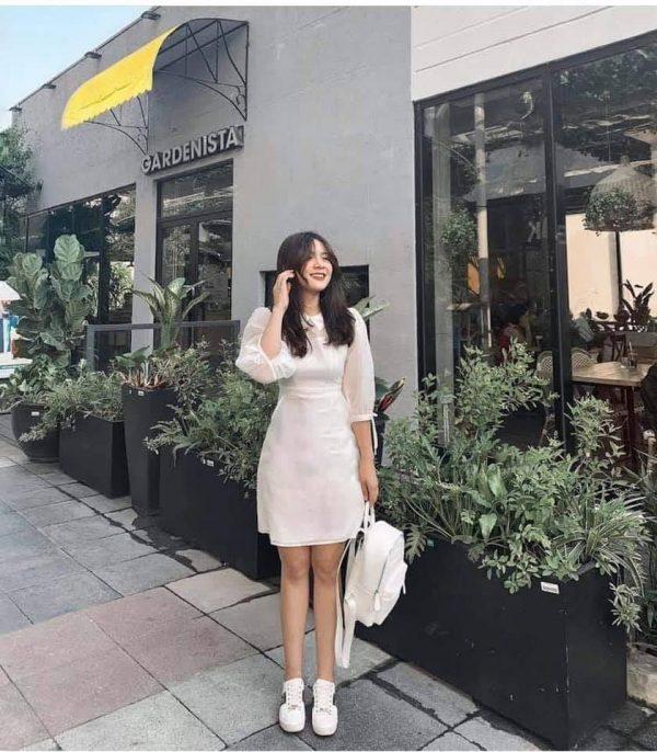 Mẫu đầm trắng nơ tay - xưởng thời trang thiết kế 3