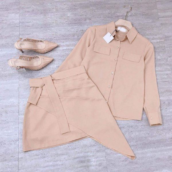 Set áo sơmi nắp túi chân váy nơ eo 5