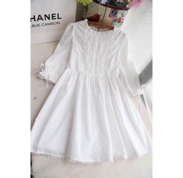Đầm baby doll trắng phối ren 2