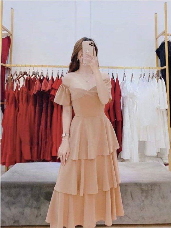 Đầm bo vai bèo tầng xinh 4