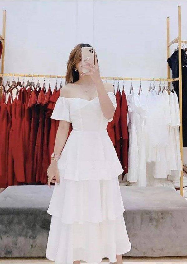 Đầm bo vai bèo tầng xinh 1