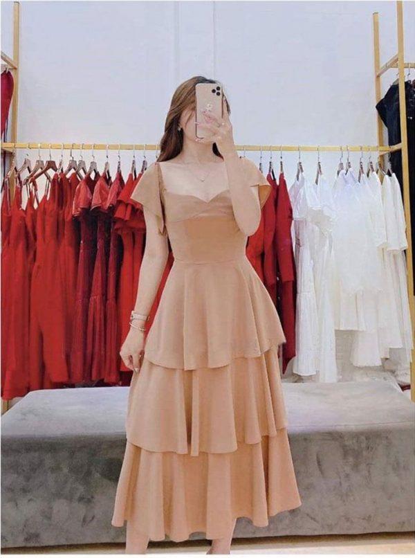 Đầm bo vai bèo tầng xinh 3