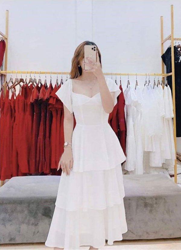 Đầm bo vai bèo tầng xinh 2