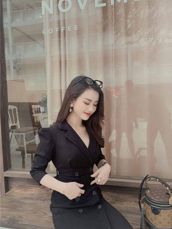 Đầm cổ vest kèm belt kín đáo - sang chảnh 2
