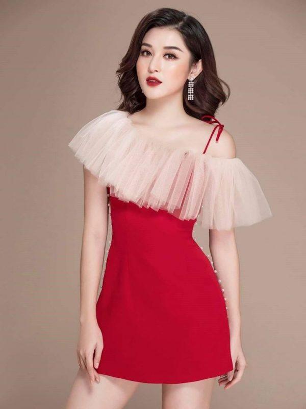 Đầm đỏ đính ngọc chất tuyết mưa 2