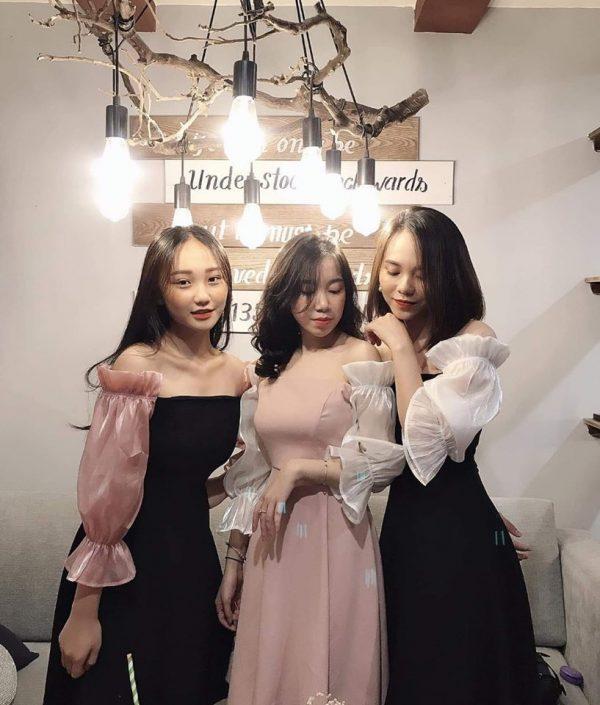 Restock - Váy Đầm tuyết mưa tay phối lụa nhũ