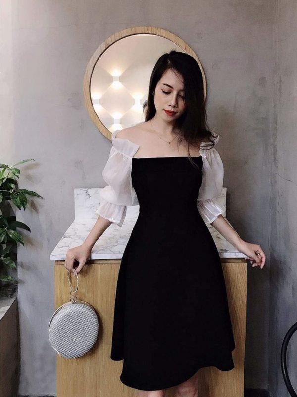 Restock - Váy Đầm tuyết mưa tay phối lụa nhũ 3