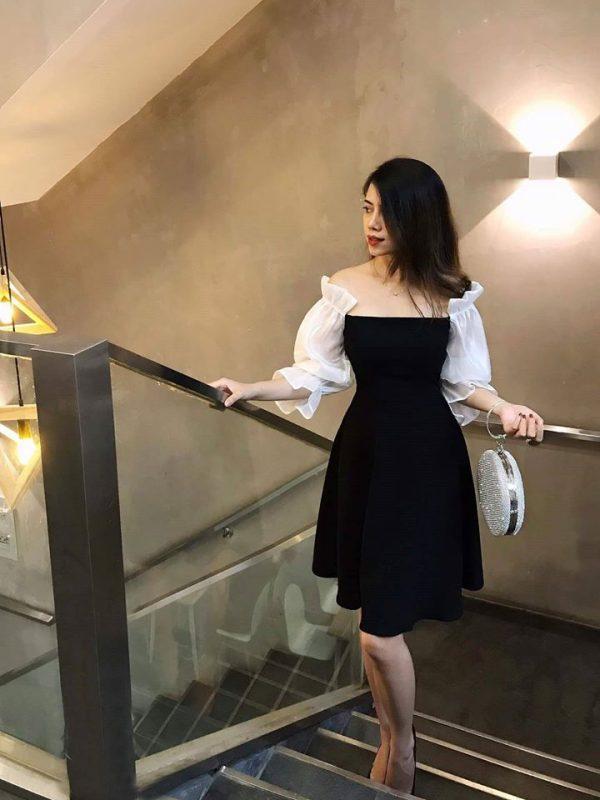 Restock - Váy Đầm tuyết mưa tay phối lụa nhũ 2