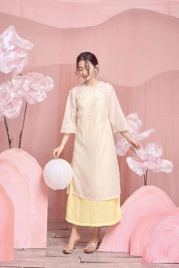Đầm yếm áo dài chất mango 3