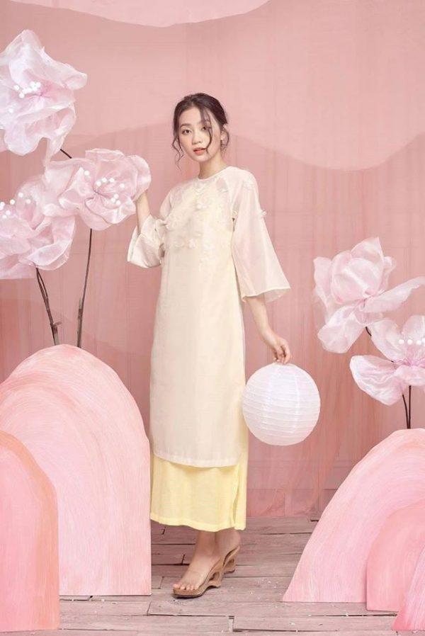 Đầm yếm áo dài chất mango 2