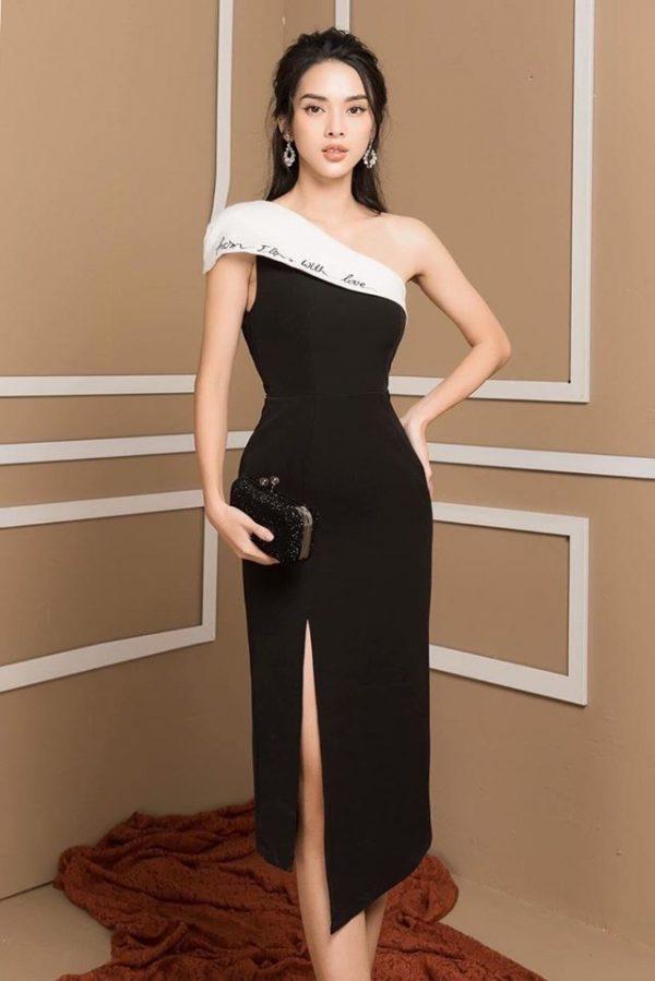 Váy đầm lệch vai thêu chữ xẻ tà 2