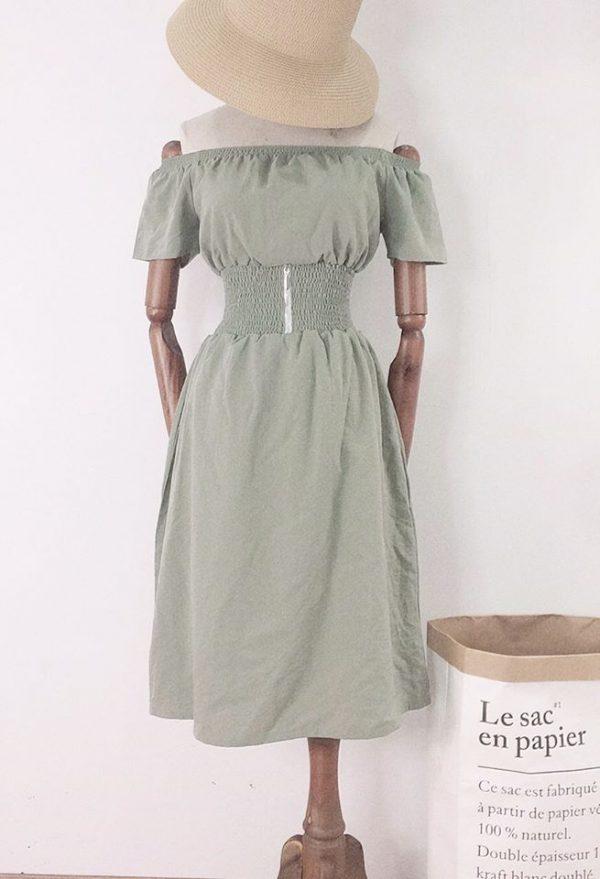 Váy Đầm trễ vai bo eo tôn dáng 6