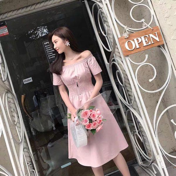 Váy Đầm trễ vai bo eo tôn dáng 5