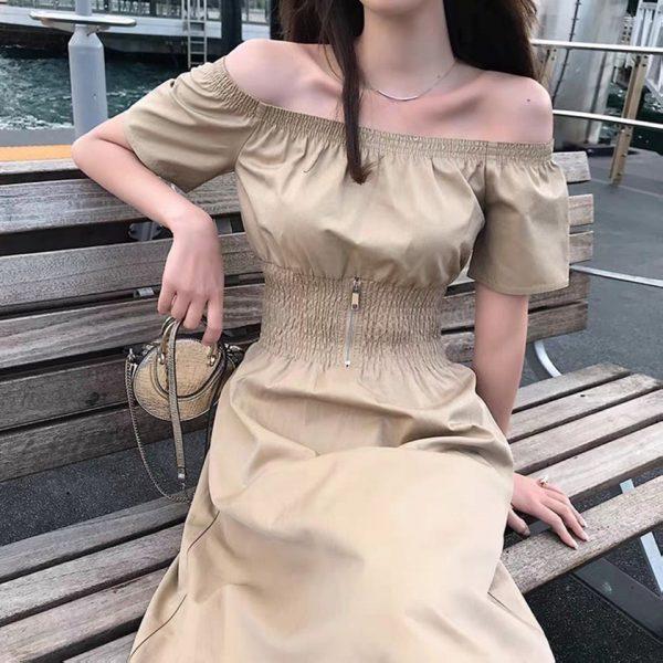Váy Đầm trễ vai bo eo tôn dáng 1
