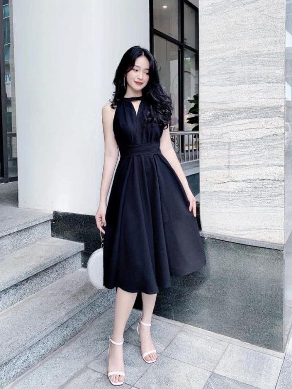 Đầm cổ yếm dáng dài buột eo 1