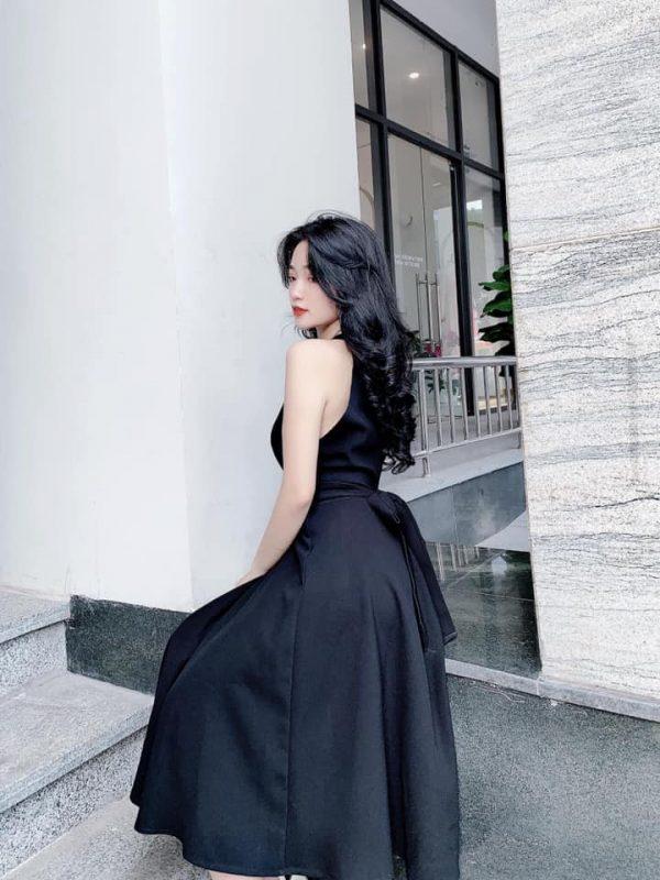 Đầm cổ yếm dáng dài buột eo 3