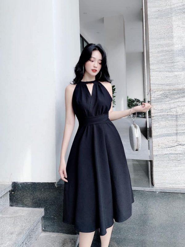 Đầm cổ yếm dáng dài buột eo 2