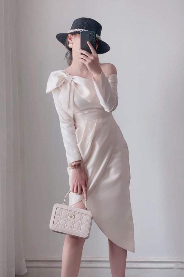 Đầm body lệch vai nơ 3